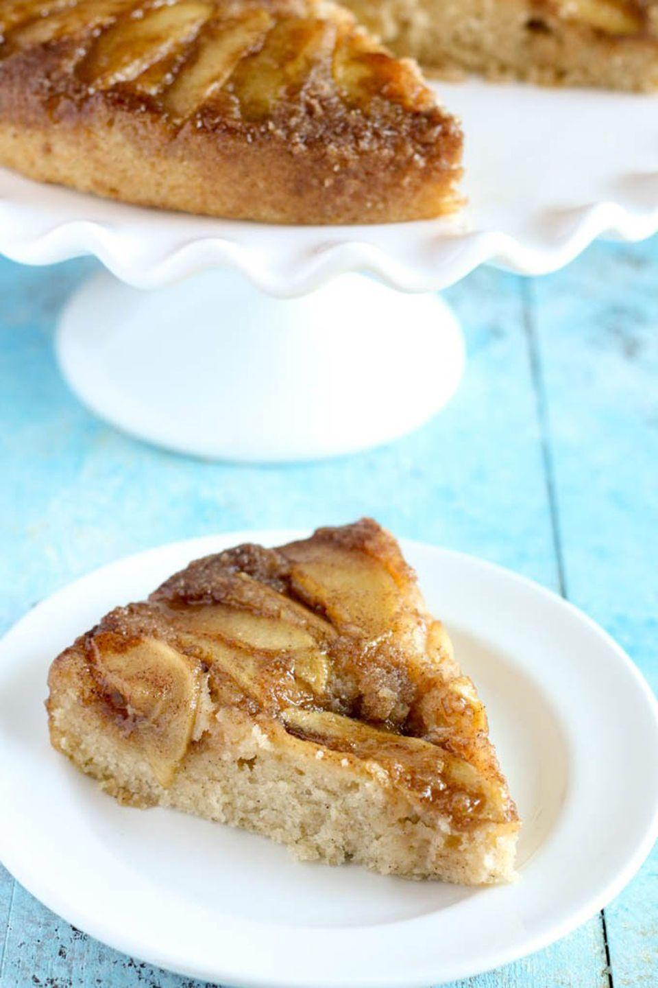 "<p>Swap out the usual pineapples for your favorite kind of apple for a moist upside-down cake.</p><p><strong>Get the recipe at <a href=""https://www.livewellbakeoften.com/caramel-apple-upside-down-cake/"" rel=""nofollow noopener"" target=""_blank"" data-ylk=""slk:Live Well Bake Often"" class=""link rapid-noclick-resp"">Live Well Bake Often</a>.</strong></p><p><a class=""link rapid-noclick-resp"" href=""https://www.amazon.com/Now-Designs-Cake-Stand-Aqua/dp/B00IRU6Q1C?th=1&tag=syn-yahoo-20&ascsubtag=%5Bartid%7C10050.g.650%5Bsrc%7Cyahoo-us"" rel=""nofollow noopener"" target=""_blank"" data-ylk=""slk:SHOP CAKE STANDS"">SHOP CAKE STANDS</a><br></p>"
