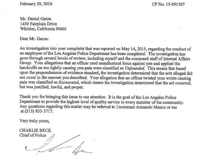"""A letter from LAPD to Daniel Garza says his complaint about the wrist hold was classified as """"Exonerated."""""""