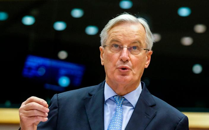 Michel Barnier told the leaders of the parliament's political groups that the deal was 'difficult but possible' - Olivier Hoslet/AFP
