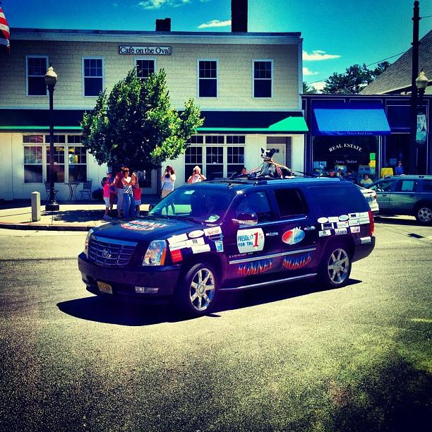 A SUV with a fake dog strapped on top circling Romney's event in Milford, NH. (Holly Bailey/Yahoo News)