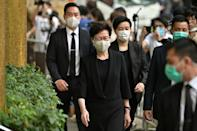 Hong Kong Chief Executive Carrie Lam arrives at the funeral of late Macau tycoon Stanley Ho