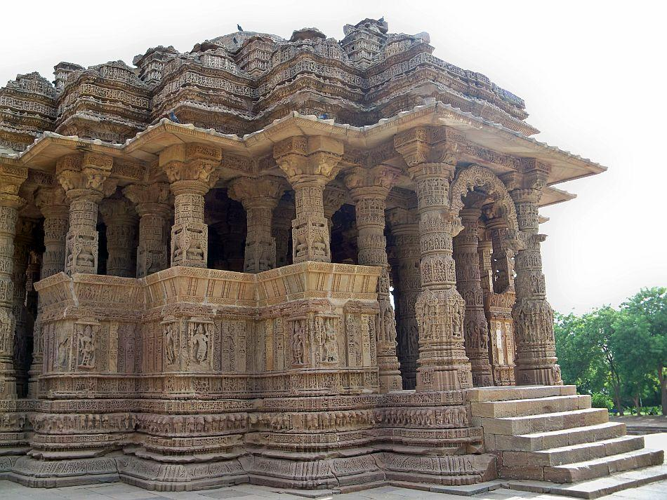 <b>Sabha Mandap View South West</b> The mandapa as usual is peristylar with an octagonal nave covered by a splendidly carved dome.