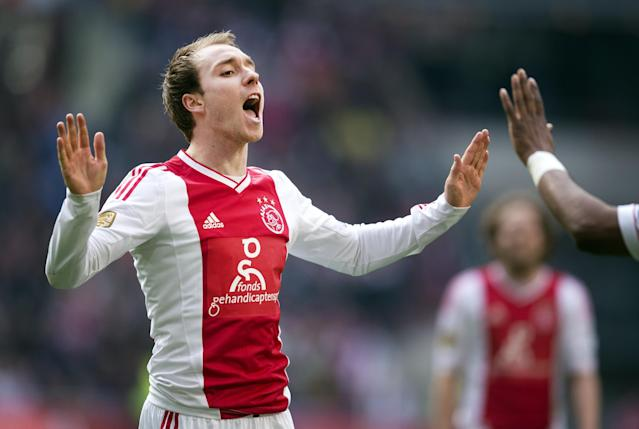 Ajax Amsterdam player Christian Eriksen reacts after scoring the 4-0 goal during the Dutch Eredivisie football match against Heracles Almelo in Amsterdam, The Netherlands, on April 7, 2013. Ajax Amsterdam won 4-0. AFP PHOTO / ANP / OLAF KRAAK netherlands outOLAF KRAAK/AFP/Getty Images