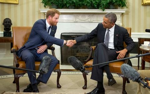 Prince Harry and President Obama meet at the White House in 2015 - Credit: Manuel Balce Ceneta/AP