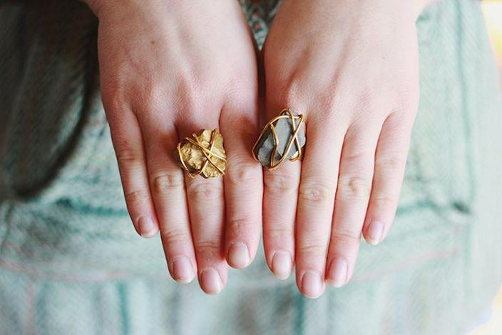 """<p>This blogger created her own Blarney stone ring with little more than jewelry wire. If you want extra bling, paint your stone gold.</p><p><strong>Get the tutorial at <a href=""""https://themerrythought.com/diy/golden-stone-ring/"""" rel=""""nofollow noopener"""" target=""""_blank"""" data-ylk=""""slk:The Merrythought"""" class=""""link rapid-noclick-resp"""">The Merrythought</a>.</strong></p><p><a class=""""link rapid-noclick-resp"""" href=""""https://www.amazon.com/s?k=gold+Jewelry+Making+Wire&tag=syn-yahoo-20&ascsubtag=%5Bartid%7C2164.g.35012898%5Bsrc%7Cyahoo-us"""" rel=""""nofollow noopener"""" target=""""_blank"""" data-ylk=""""slk:SHOP GOLD WIRE"""">SHOP GOLD WIRE</a></p>"""