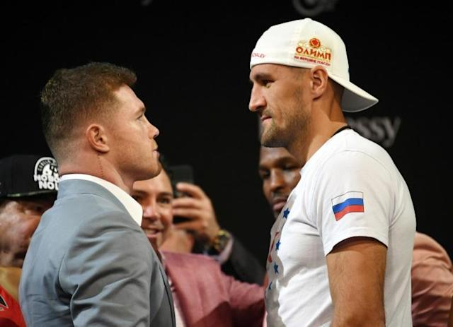 Boxer Canelo Alvarez (left)and WBO light heavyweight champion Sergey Kovalev face off ahead of their fight at the MGM Grand in Las Vegas on Saturday (AFP Photo/Ethan Miller)
