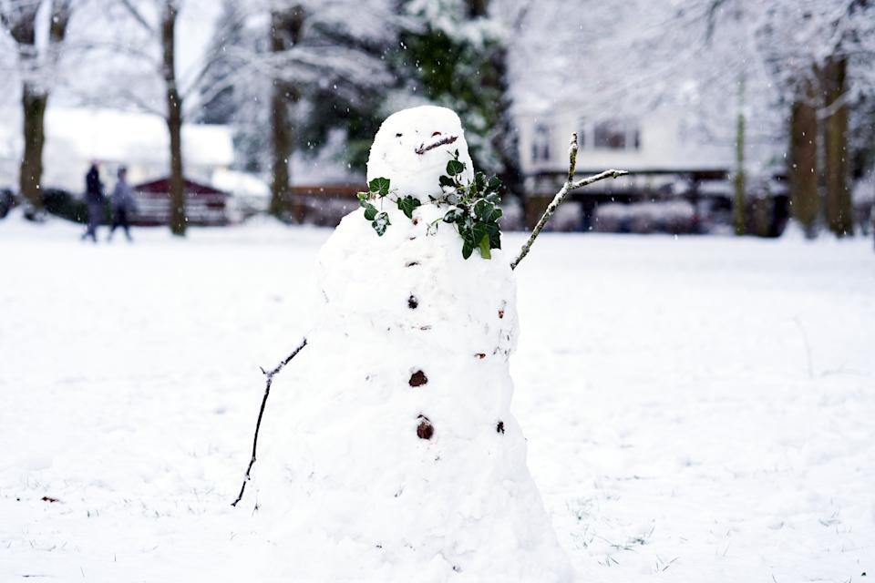 A snowman in Camberley, Surrey (Photo: PA)