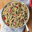 <p>Everyone will love this pasta salad recipe that's packed with tomatoes, corn and black beans. We lighten up the creamy dressing with avocado for a healthier version of a picnic favorite.</p>