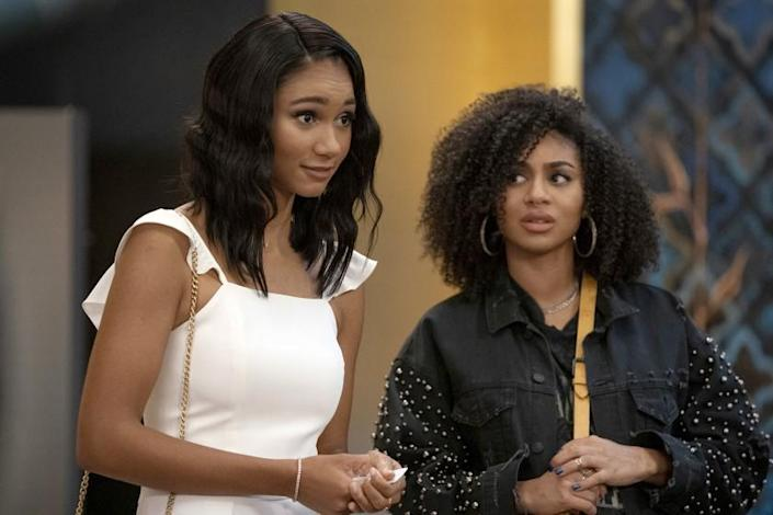 """All American -- The CW TV Series, All American -- """"Roll the Dice"""" -- Image Number: ALA307a_0599r.jpg -- Pictured (L-R): Greta Onieogou as Layla and Chelsea Tavares as Patience -- Photo: Michael Yarish/The CW -- © 2021 The CW Network, LLC. All Rights Reserved Greta Onieogou, left, and Chelsea Tavares in """"All American"""" on The CW."""