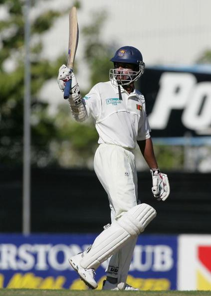 DARWIN, AUSTRALIA - JUNE 25:  Kumar Sangakkara of Sri Lanka reaches 100 during day two of the Tour Match between the NT Chief Minister's XI and Sri Lanka played at Marrara Oval on June 25 2004 in Darwin, Australia. (Photo by Hamish Blair/Getty Images)