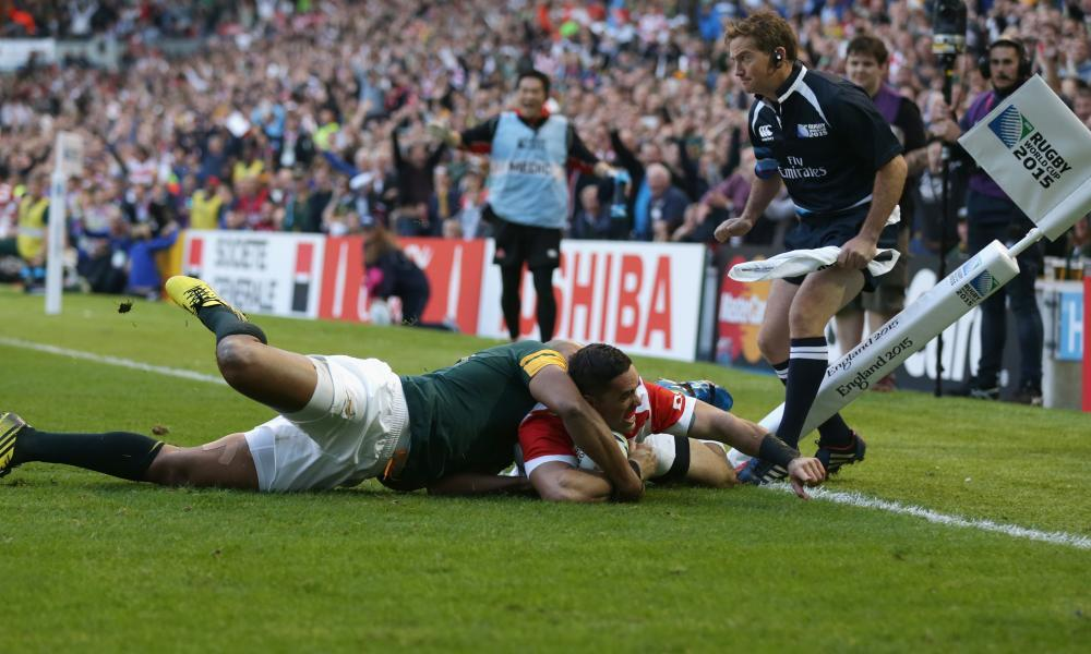 Japan's Karne Hesketh scores the winning try against South Africa in the 2015 World Cup. Without it, he would probably not be England's coach.