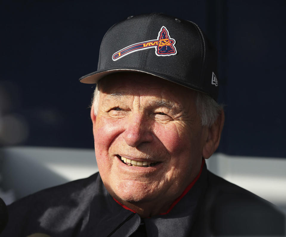 """Former Atlanta Braves manager Bobby Cox is back in the dugout to coach the """"Future Stars"""" against the Atlanta Braves in an exhibition baseball game Tuesday, March 27, 2018, in Atlanta. (Curtis Compton/Atlanta Journal-Constitution via AP)"""