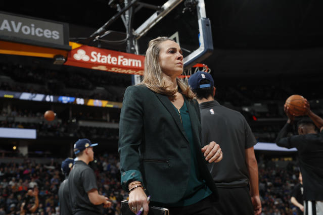 "<a class=""link rapid-noclick-resp"" href=""/nba/teams/sas"" data-ylk=""slk:San Antonio Spurs"">San Antonio Spurs</a> assistant coach Becky Hammon in the second half of an NBA basketball game Tuesday, Feb. 13, 2018, in Denver. The Nuggets won 117-109. (AP Photo/David Zalubowski)"