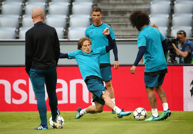 Soccer Football - Champions League - Real Madrid Training - Allianz Arena, Munich, Germany - April 24, 2018 Real Madrid's Luka Modric during training REUTERS/Michael Dalder