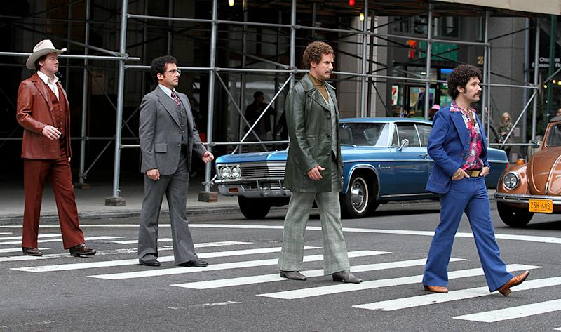 """The cast of """"Anchorman 2"""" on set in New York City."""