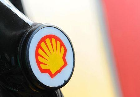 A Shell logo is seen on a pump at a petrol station in London