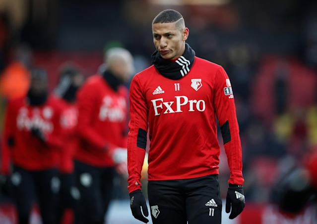 """Soccer Football - Premier League - Watford vs Everton - Vicarage Road, Watford, Britain - February 24, 2018 Watford's Richarlison during the warm up before the match REUTERS/David Klein EDITORIAL USE ONLY. No use with unauthorized audio, video, data, fixture lists, club/league logos or """"live"""" services. Online in-match use limited to 75 images, no video emulation. No use in betting, games or single club/league/player publications. Please contact your account representative for further details."""