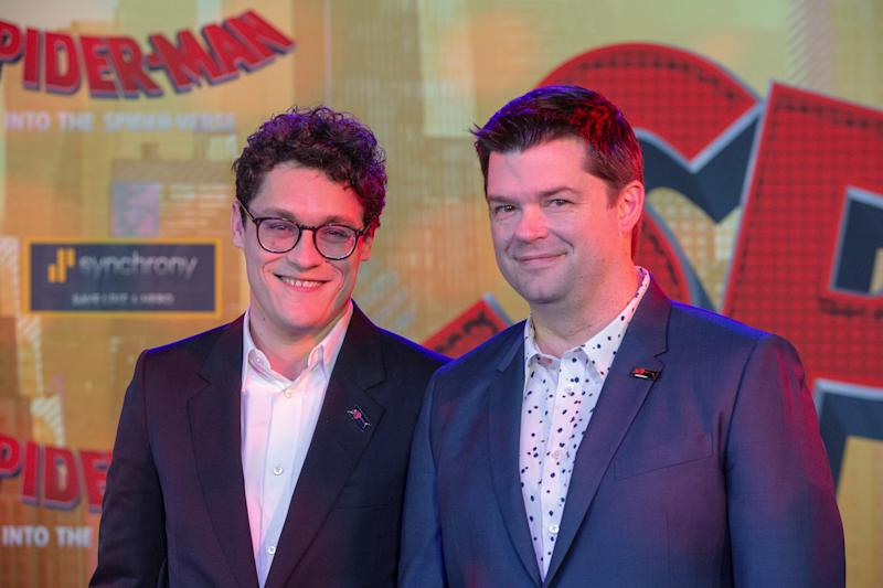"""Producers Phil Lord and Christopher Miller attend the world premiere for the movie """"Spider-Man: Into the Spider-Verse"""" in Los Angeles, California, U.S., December 1, 2018. REUTERS/Monica Almeida"""