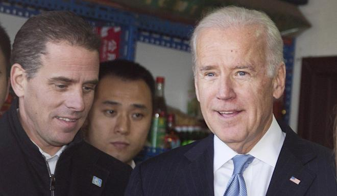 Joe Biden, who was US vice-president at the time, with his son Hunter in Beijing in December 2013. Photo: EPA-EFE