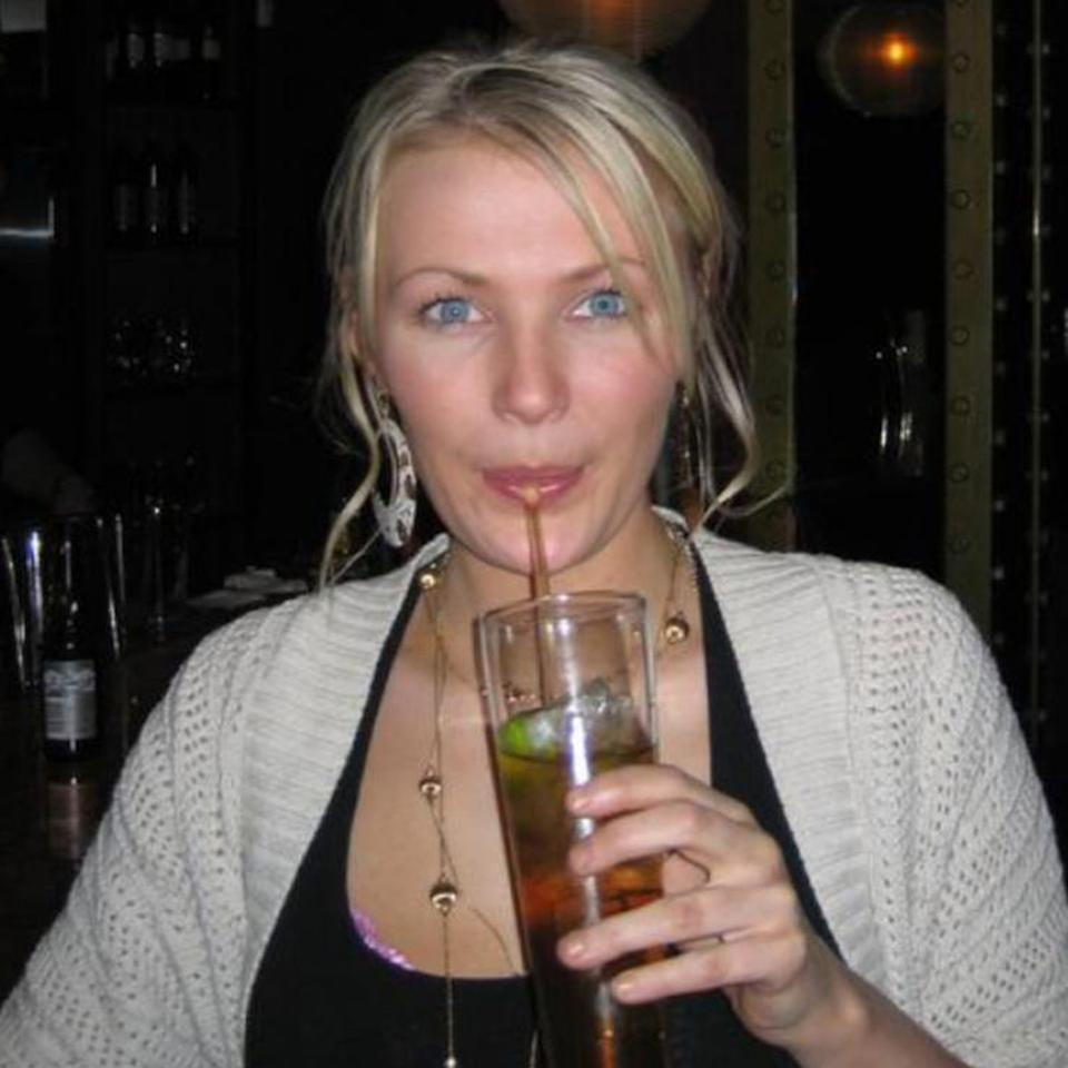 Nicola Farrell, 37, from Crystal Palace, London, drinking an alcoholic beverage