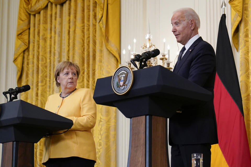 President Joe Biden and German Chancellor Angela Merkel during a news conference in the East Room of the White House in Washington, Thursday, July 15, 2021. (AP Photo/Susan Walsh)