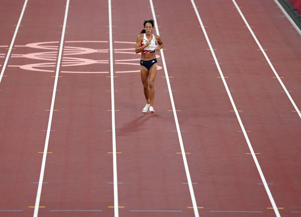 Katarina Johnson-Thompson limped over the line after injuring her calf before pulling out of the heptathlon (Martin Rickett/PA) (PA Wire)