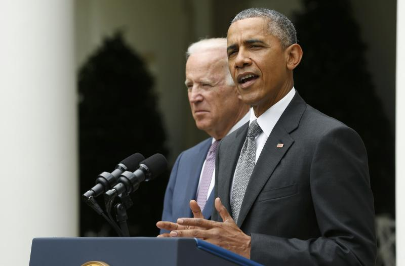 """U.S. President Obama speaks about Supreme Court ruling on """"Obamacare"""" subsidies while delivering a statement from the White House Rose Garden in Washington"""