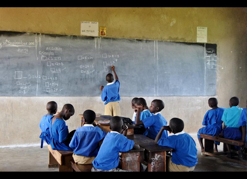 Classrooms often lack basic school materials. Beyond an old blackboard, no other teaching aids or textbooks are available.