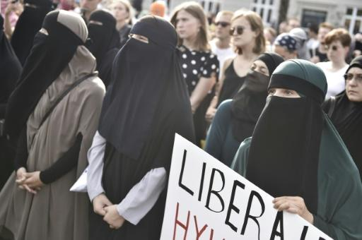 Demonstrierende Nikab-Trägerinnen in Kopenhagen