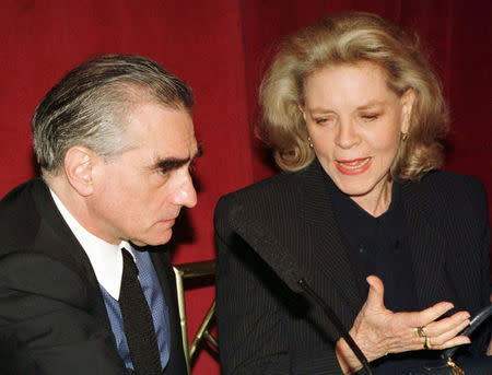Director Martin Scorsese (L) and actress Lauren Bacall address a news conference in New York, in this file picture taken April 14, 1997. REUTERS/Peter Morgan/Files