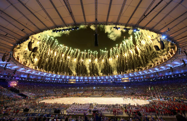 <p>Fireworks explode during the closing ceremony for the 2016 Rio Olympics. (REUTERS/Marcos Brindicci) </p>