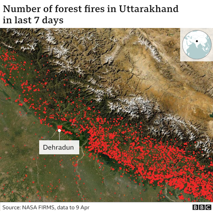 Maps showing the number of forest fires