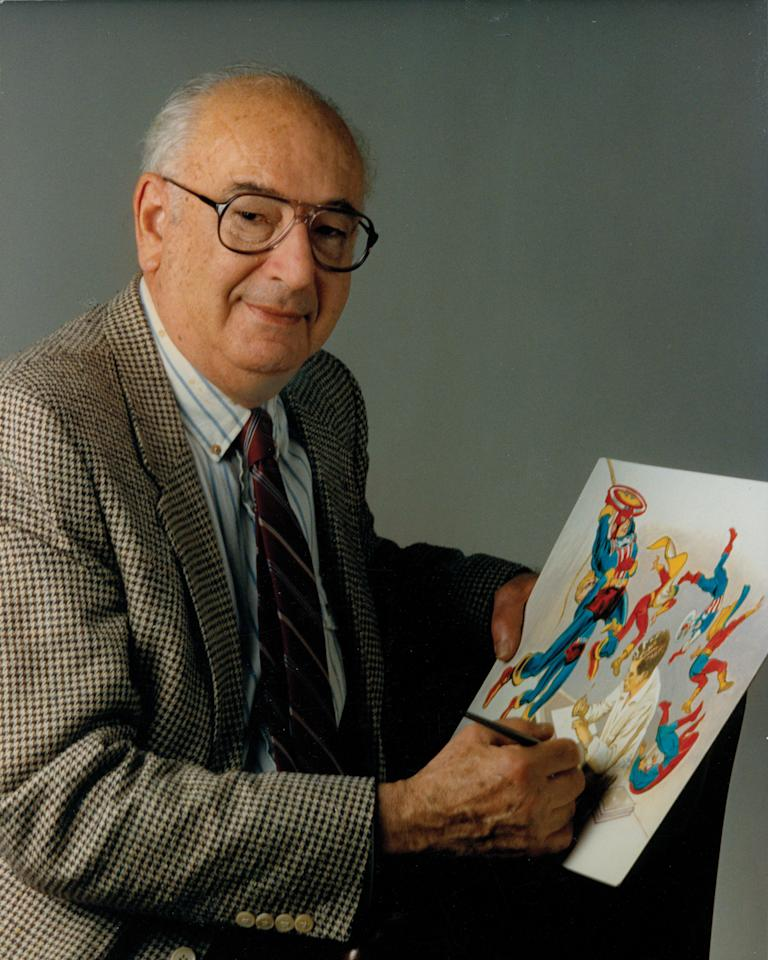 In this undated publicity photo released by Titan Books, Joe Simon, co-creator of the Captain America comic, is shown. The character proved a popular hit _ the first issue sold a million copies and put Timely Comics, the forerunner of Marvel, solidly among newsstand favorites, a position held through the 1940s and 1950s before becoming Marvel in the 1960s. (AP Photo/Titan Books)