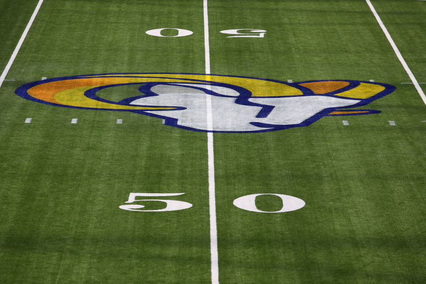 A general view of the Los Angeles Rams logo at midfield.