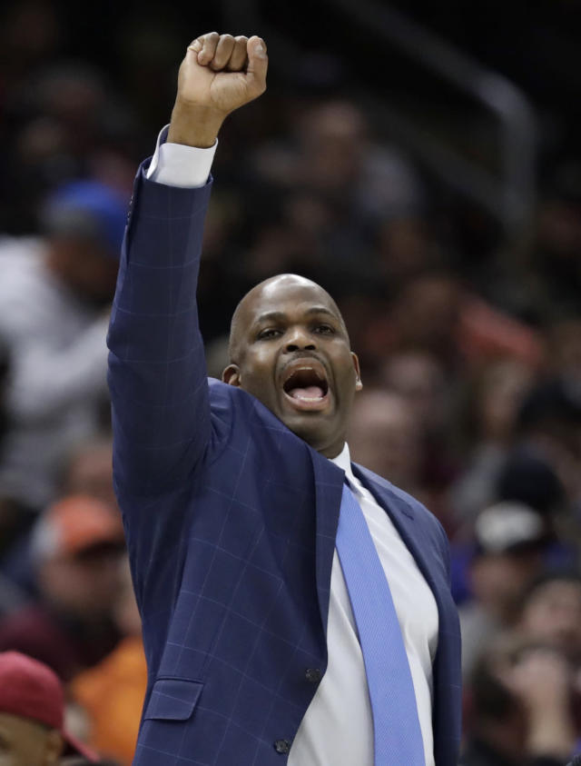 Indiana Pacers head coach Nate McMillan yells instructions to players in the first half of Game 5 of an NBA basketball first-round playoff series against the Cleveland Cavaliers, Wednesday, April 25, 2018, in Cleveland. The Cavaliers won 98-95. (AP Photo/Tony Dejak)