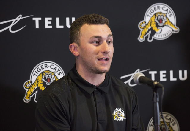 Former NFL quarterback and Heisman winner Johnny Manziel is trying to resume his football career in the CFL with the Hamilton Tiger-Cats. (AP)