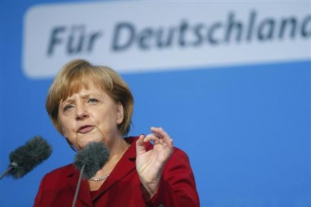 German Chancellor and conservative Christian Democratic Union (CDU) leader Angela Merkel speaks during an election campaign rally in Fulda