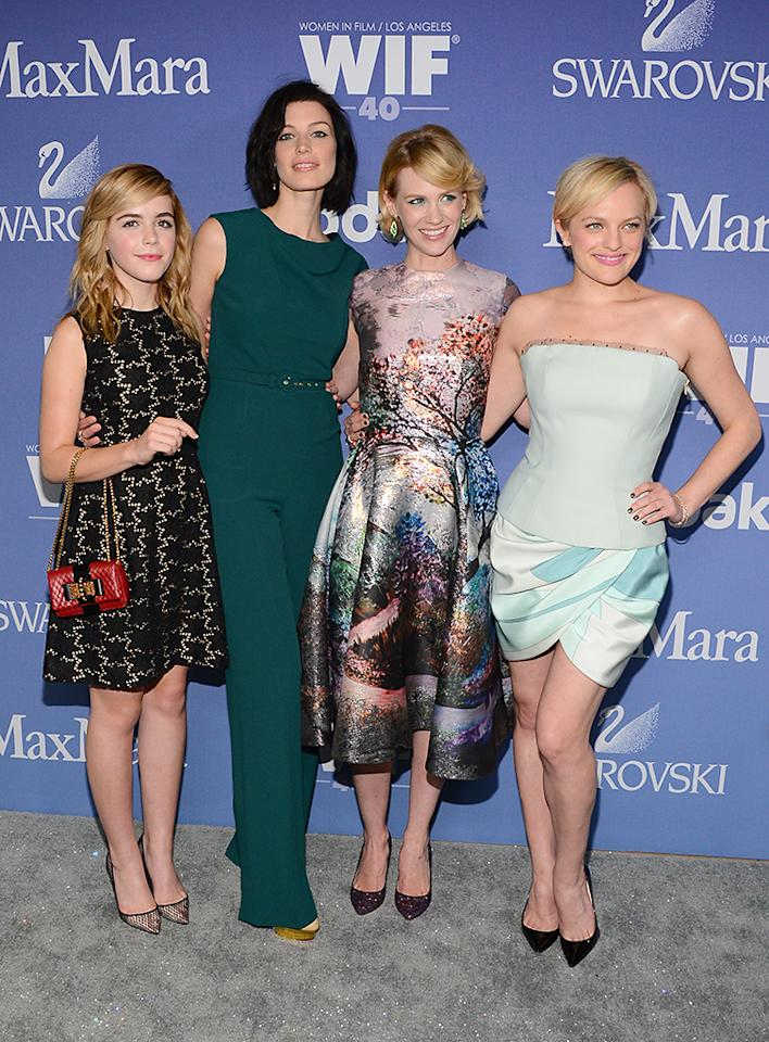 BEVERLY HILLS, CA - JUNE 12:  (L-R)  Actresses  Kiernan Shipka, Jessica Pare, January Jones, and Elizabeth Moss attend Women In Film's 2013 Crystal   Lucy Awards at The Beverly Hilton Hotel on June 12, 2013 in Beverly Hills, California.  (Photo by Mark Davis/Getty Images for Women In Film)