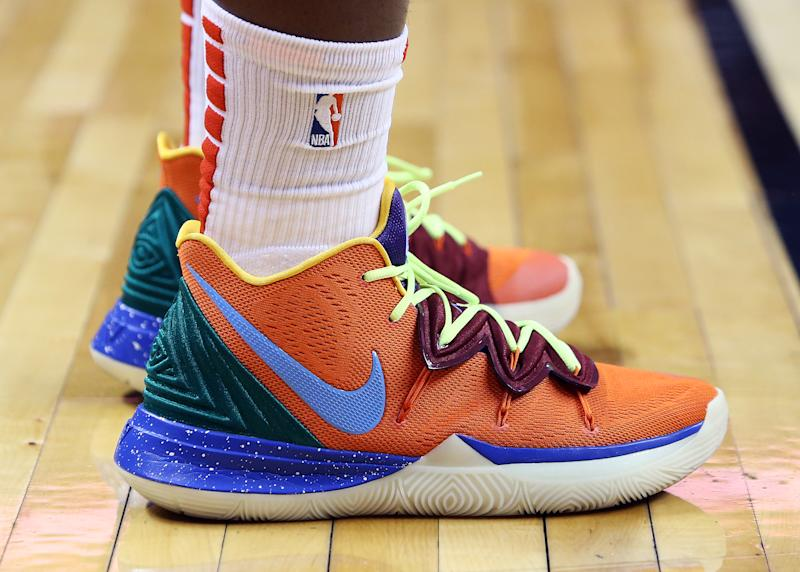 TORONTO, ON - OCTOBER 22: The shoes worn by OG Anunoby #3 of the Toronto Raptors during the second half of an NBA game against the New Orleans Pelicans at Scotiabank Arena on October 22, 2019 in Toronto, Canada. NOTE TO USER: User expressly acknowledges and agrees that, by downloading and or using this photograph, User is consenting to the terms and conditions of the Getty Images License Agreement. (Photo by Vaughn Ridley/Getty Images)