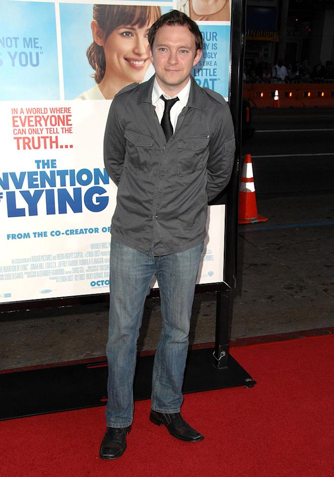 """<a href=""""http://movies.yahoo.com/movie/contributor/1809759566"""">Nate Corddry</a> at the Los Angeles premiere of <a href=""""http://movies.yahoo.com/movie/1810022054/info"""">The Invention of Lying</a> - 09/21/2009"""