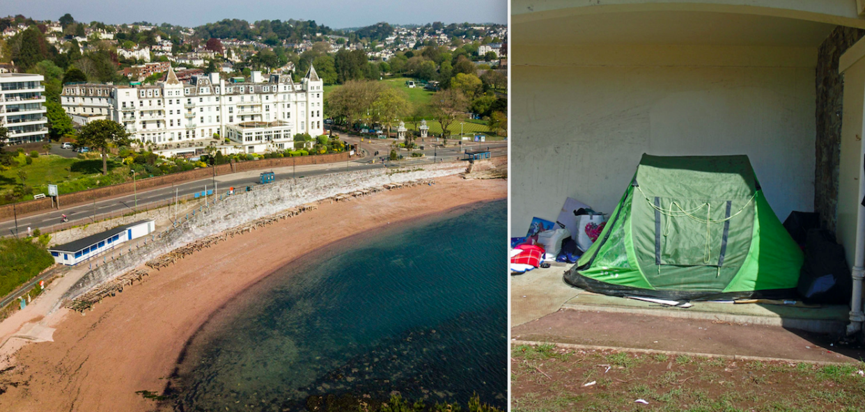Tourists are seemingly setting up camp in Torquay to avoid paying for pricey accommodation. (SWNS)