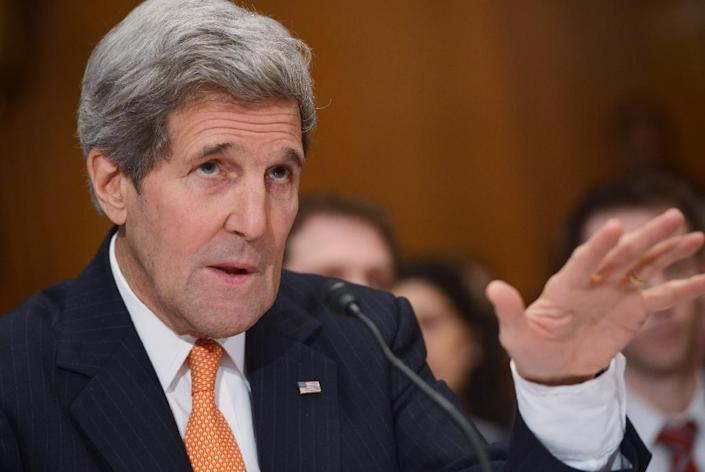 US Secretary of State John Kerry told lawmakers that Russia was lying about its activities in eastern Ukraine (AFP Photo/Mandel Ngan)