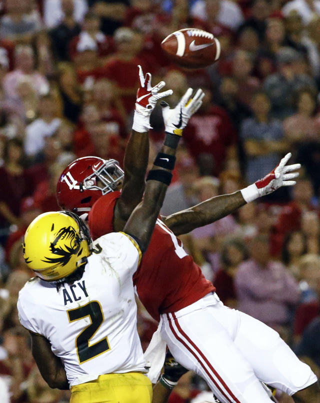 Missouri defensive back DeMarkus Acy (2) breaks up a pass intended for Alabama wide receiver Henry Ruggs III (11) in the end zone during the first half of an NCAA college football game Saturday, Oct. 13, 2018, in Tuscaloosa, Ala. (AP Photo/Butch Dill)