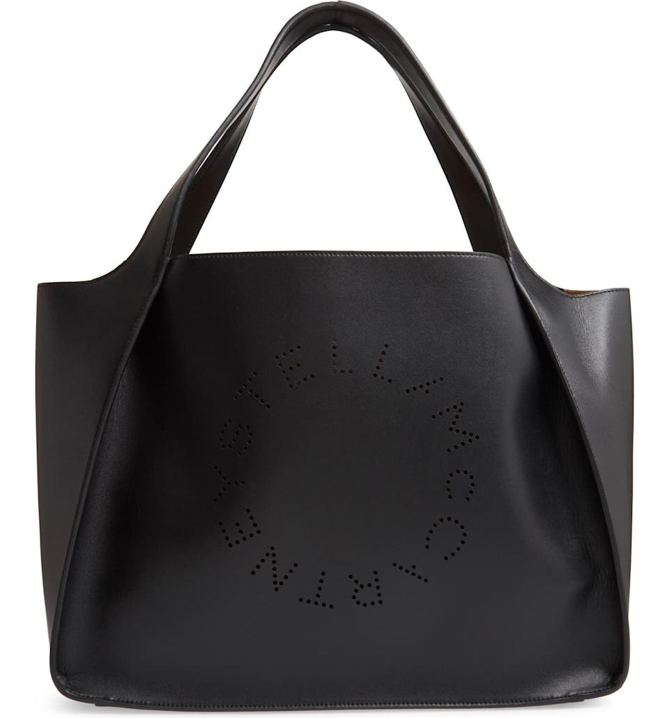 <p>If you're going to invest, you want to know it'll go with plenty of outfits in your closet. We also like that this <span>Stella McCartney Perforated Logo Faux Leather Tote</span> ($835) is vegan.</p>