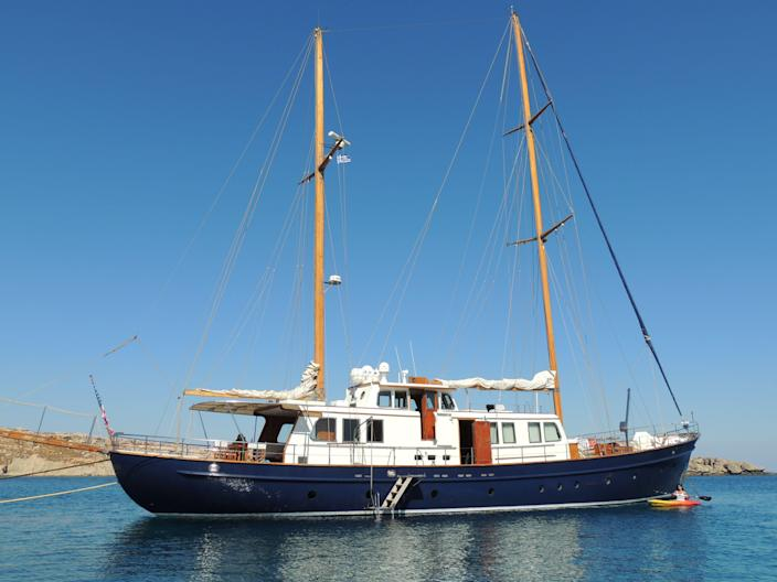 "The ""Nostromo"" sailing yacht, seen here in Lindos, Greece."
