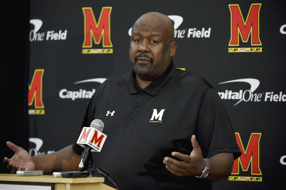 FILE - In this Aug. 2, 2019, file photo, Maryland head coach Mike Locksley addresses the media during a news conference before NCAA college football practice, in College Park, Md. The National signing day period begins Wednesday, Feb. 3, 2021. (AP Photo/Will Newton, File)