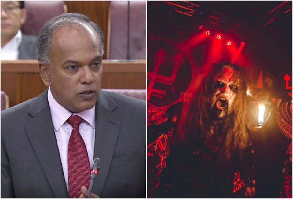 Home Affairs and Law Minister K Shanmugam (left) and Watain. (SCREENGRAB: gov.sg/YouTube; PHOTO: WATAIN/Facebook)