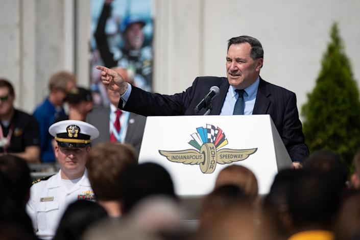 """<span class=""""s1"""">Sen. Joe Donnelly speaks during an Armed Forces enlistment ceremony at the Indianapolis Motor Speedway on May 20. (Photo: Adam Lacy/Icon Sportswire via Getty Images)</span>"""