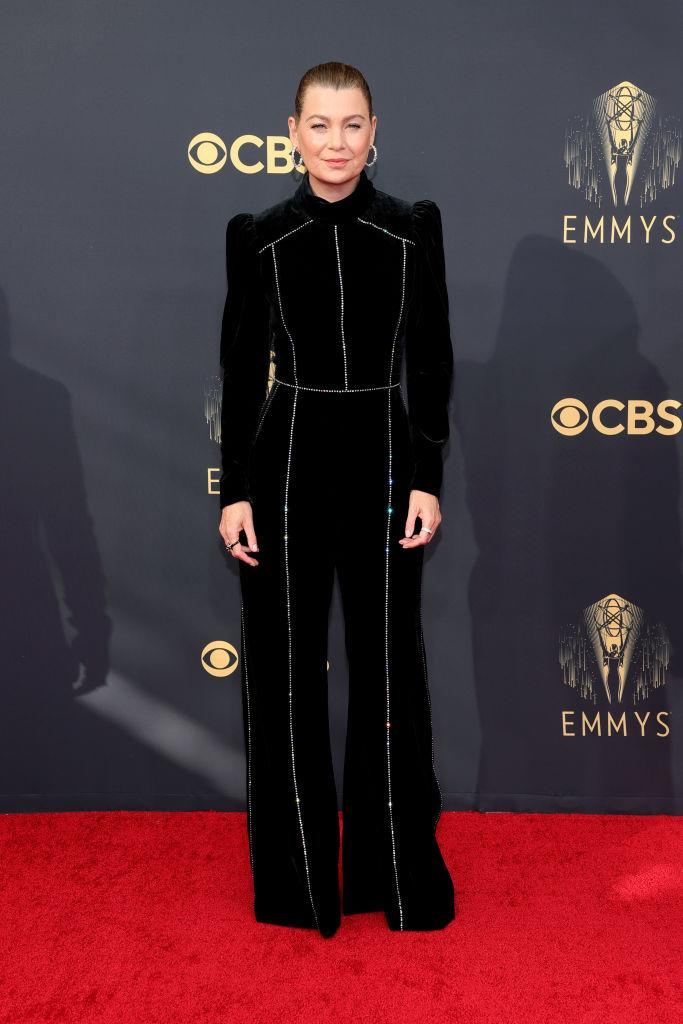 <p>Pompeo's Elie Saab jumpsuit was a stand-out look on the red carpet at the 2021 Emmy Awards.<em> (Image via Getty Images)</em></p>
