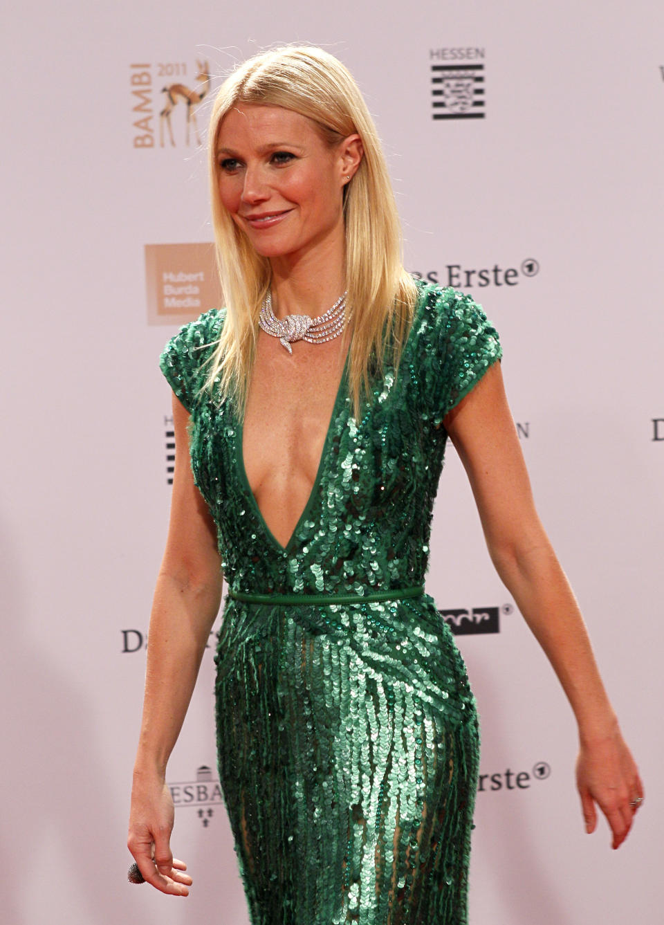 Actress Gwyneth Paltrow poses on the red carpet as she arrives for the 63rd Bambi media award ceremony in Wiesbaden November 10, 2011. Every year, the German media company 'Hubert Burda Media', honors celebrities from the world of entertainment, literature, sports and politics with the Bambi awards. REUTERS/Alex Domanski (GERMANY - Tags: ENTERTAINMENT)